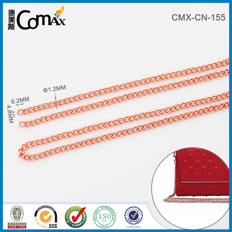 Fashion Rose Gold Metal Wallet Chain For Handbag Strap