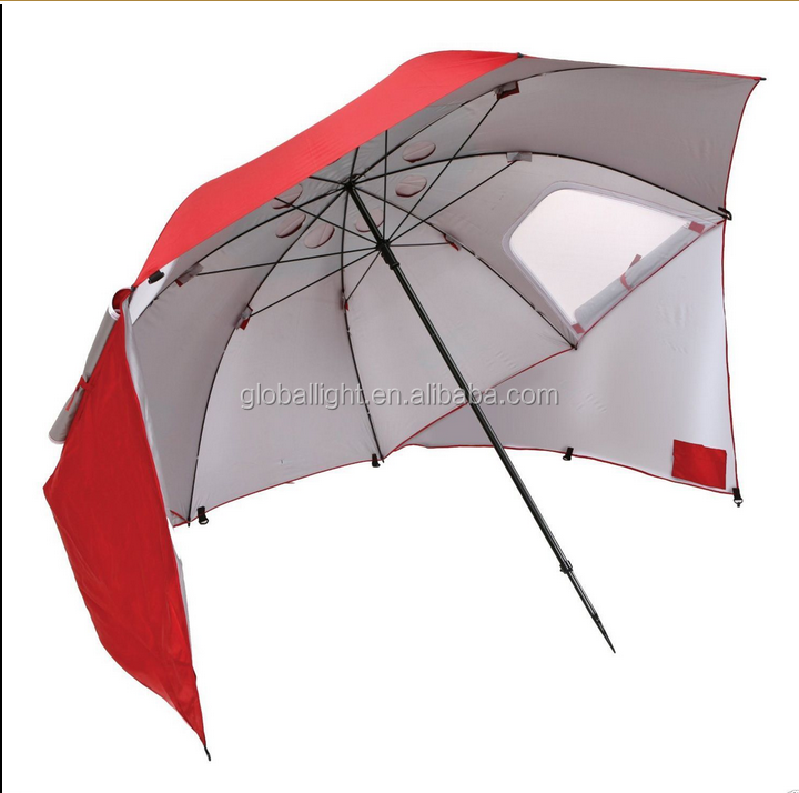 8' Wide Portable Sun Weather Red Shelter Beach Camping Umbrella