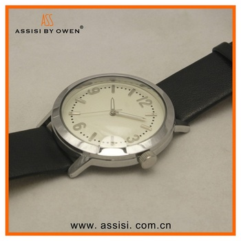 Assisi brand Vintage leather strap quartz steel big face sphere dial watch