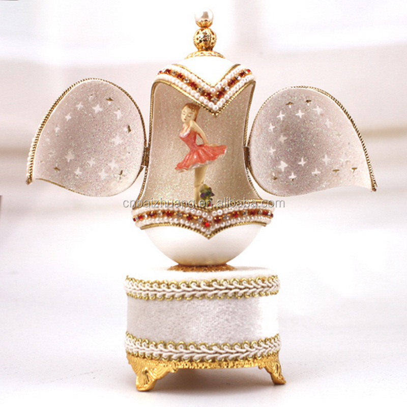Ballerina Dancer Goose Egg Beautiful Music Box