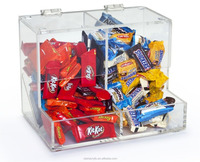 Clear Acrylic 2 Sections Candy Bins Boxes for Counters, Clear Acrylic Candy Dispenser Acrylic Dry Food Dispenser with 2 divider