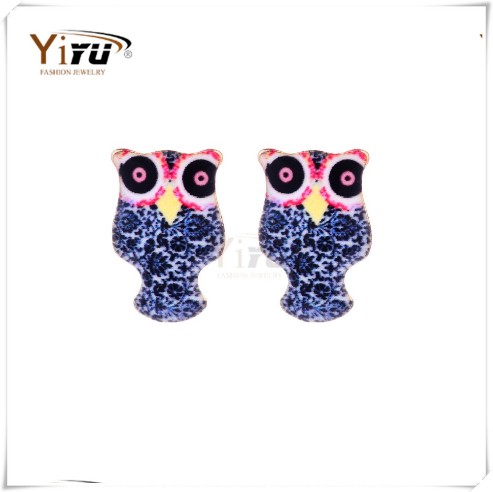 2016 new china blue owl animal shaped earring studs jewelry