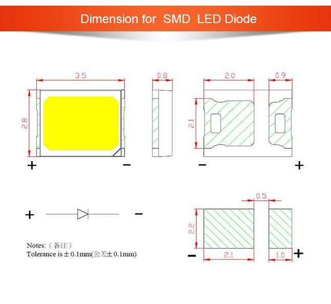 2835 1W LED SMD Diode For Led Strip Light