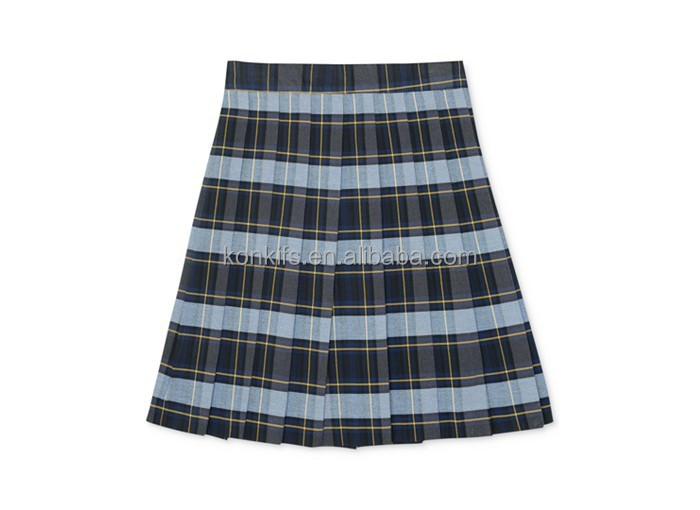 Girls' Plus Uniform Plaid Pleated Skirt
