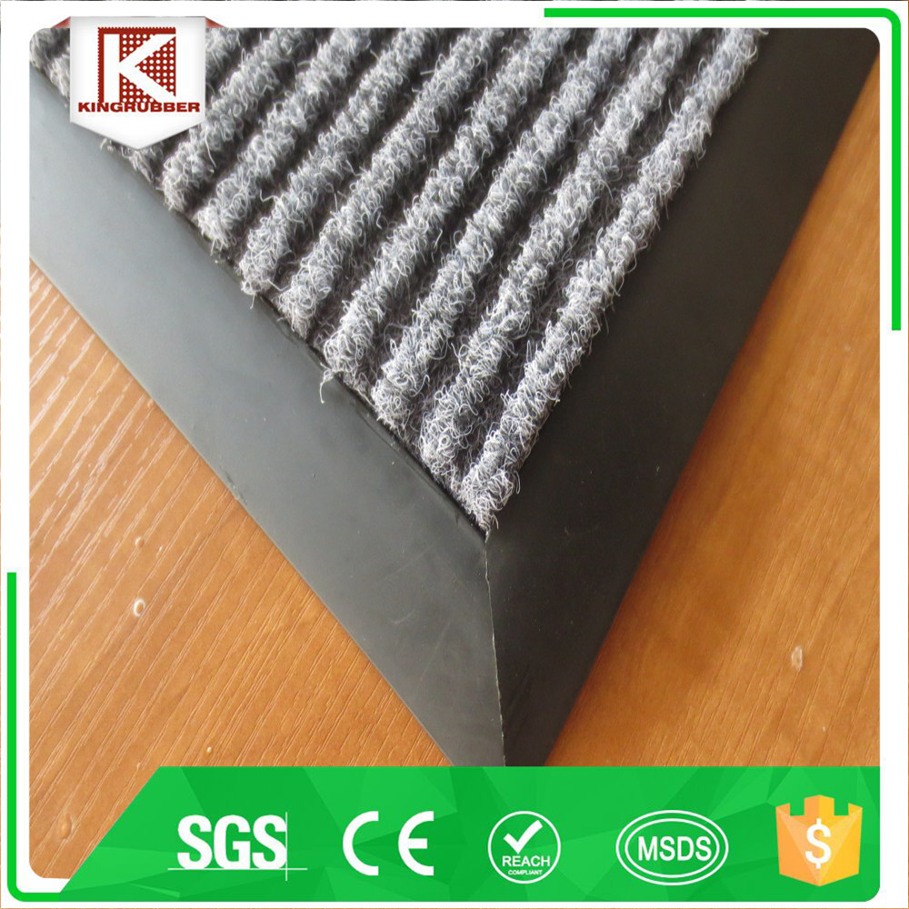 pvc carpet /Striped polyester surface floor mat pvc door mat Trade Assurance