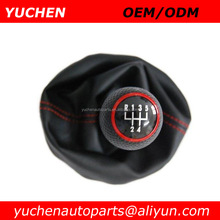 YUCHEN 23mm Car Shift Gear Knob For VW Mk4 Golf Add Black Leather Boot For Skoda Octavia I 1 U Auto Spare Parts Accessories