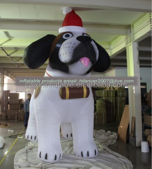 advertising inflatable christmas 10ft white dog model for sale