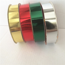 Merry Christmas tree wired metallic decorative ribbon roll