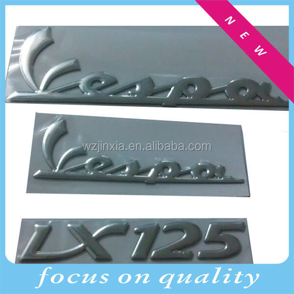 3D soft sticker, adhesive logo,silver chrome color