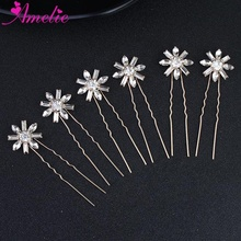 Wedding Gold Hair Pin For Girls Flower Bridal Headpiece Grips Barrette Women Hair Forks Fashion Jewelry