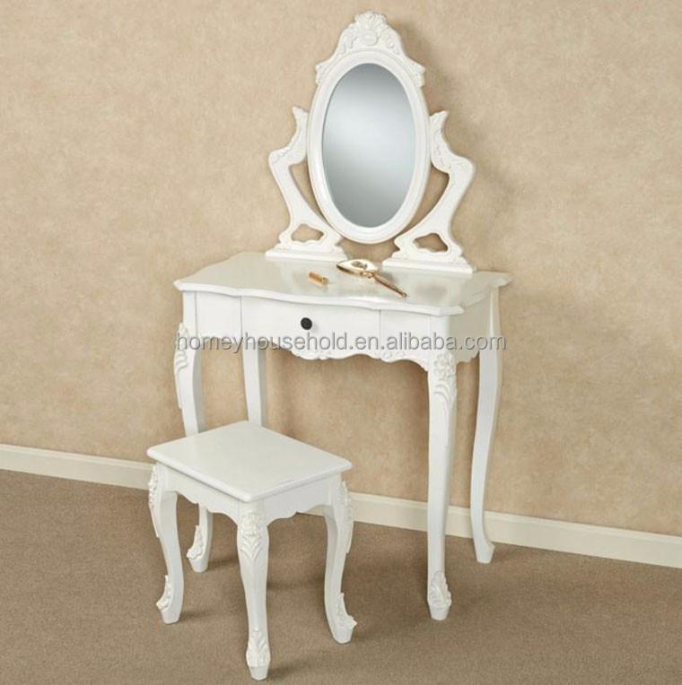 Wood Living Room Furniture White Vanity Dresser Stool Pedicure Chair
