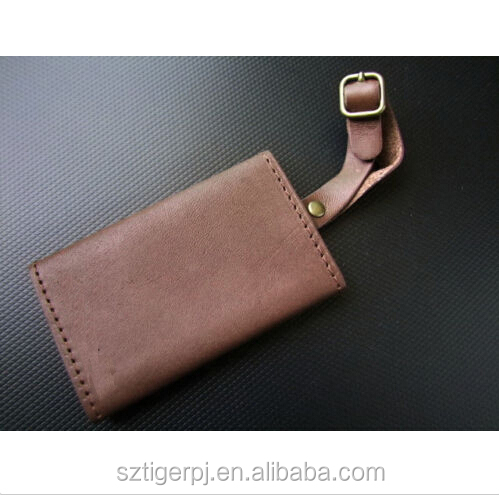New Tri-Fold ID Tag for Briefcase & Luggage Dark Brown Belting Leather