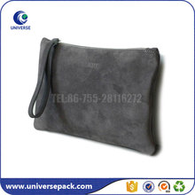 Custom Zipper Clutch Suede Leather Bag For Cosmetic