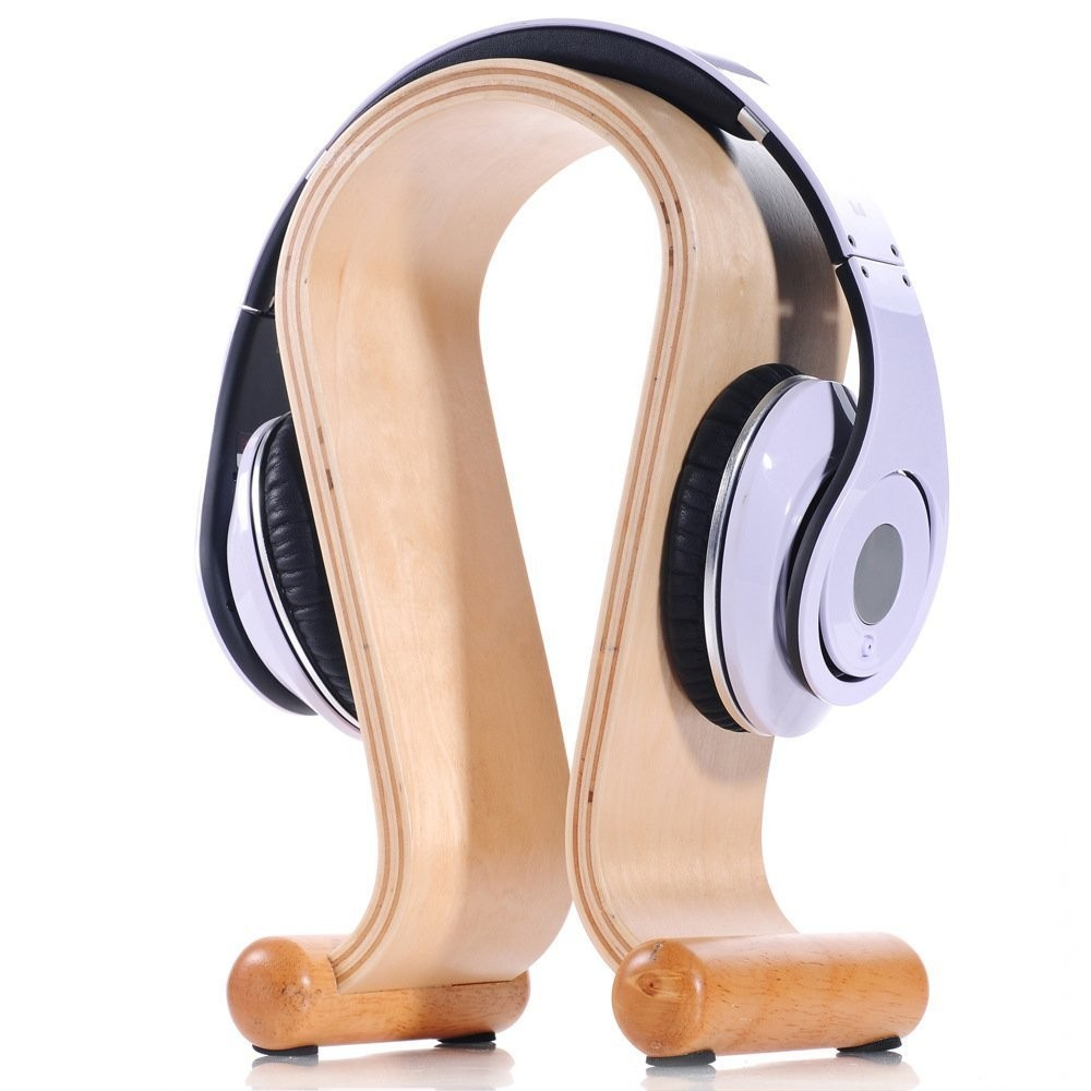 Creative Handcrafted Natural Wood Bamboo Hard Panel Stand Holder for Earphone Headset Headphones Artwork