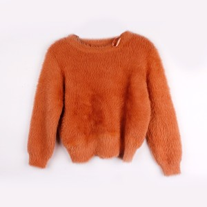Round neck fur fleece lady top velvet sweater women fashion short pullover