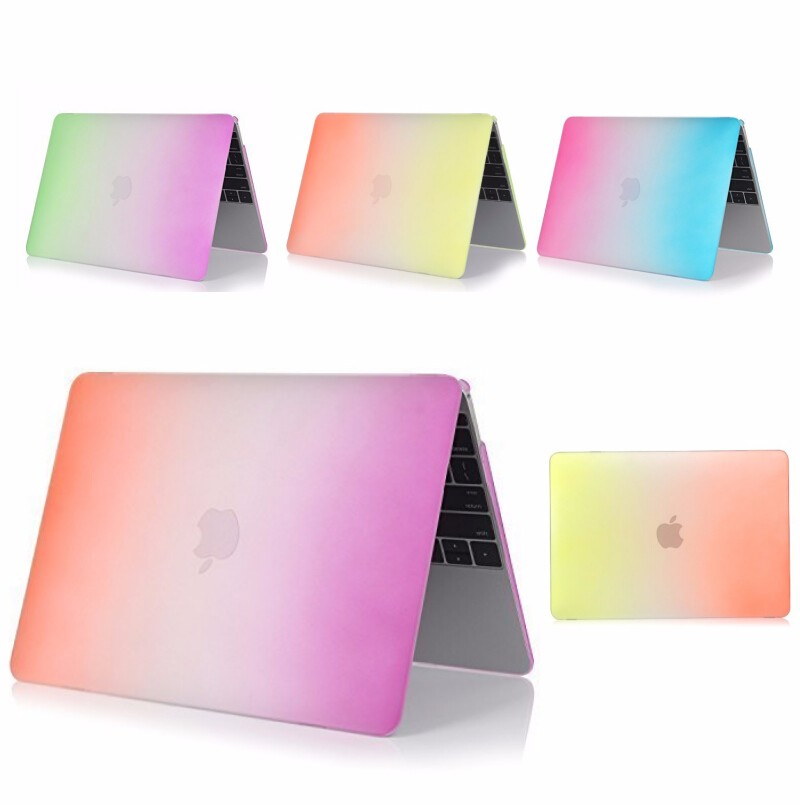 Hot New Beautiful Rainbow Colorful PC Frosted Shell Laptop Cover For Macbook 12