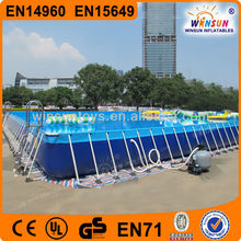 Outdoor portable PVC above ground rectangular metal frame pool