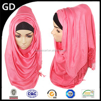 GDHH0119 Multicolor women plain dyed 100 pashmina with tassel brand cotton hijab scarf long