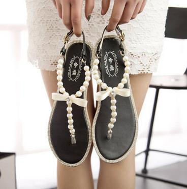 Wholesale summer women flat shoes bowknot design pearl shoes ladies cheap toepost sandals