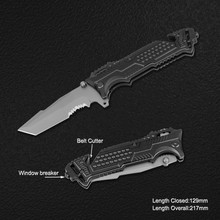 ikiv Survival Knife with Window Breaker & Belt Cutter edc knifes custom tactical tool gift