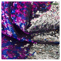 2016 fashion wholesale 3mm reversible mermaid 2 tones sequin fabric with silver backing for cushion
