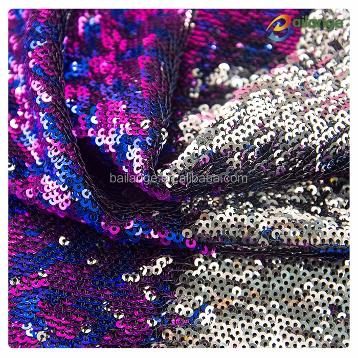 fashion wholesale 3mm reversible mermaid 2 tones sequin fabric with silver backing for cushion
