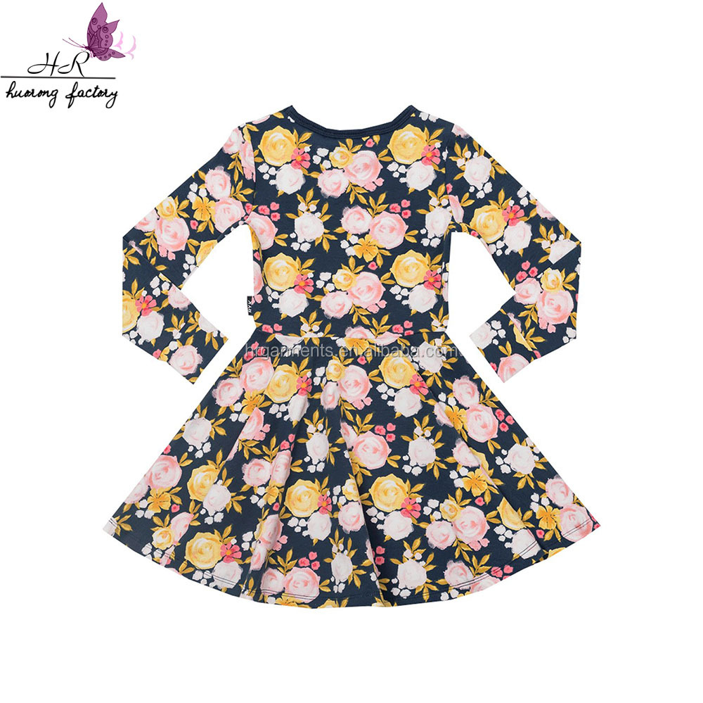 Wholesale sweet baby teen girl's printed cotton floral child clothes kids long sleeve dress