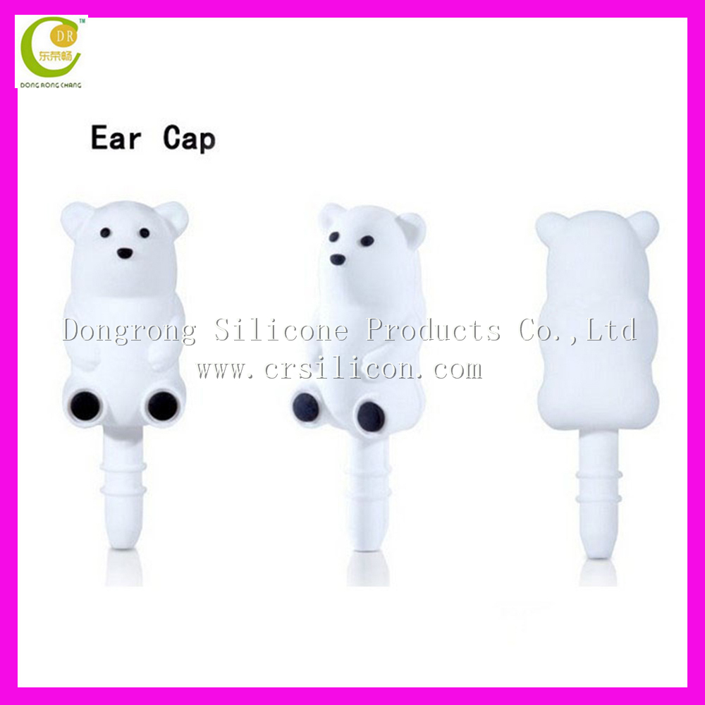 Cute bear dust plug,silicone rubber earphone dust plug,OEM rubber dust cover plug
