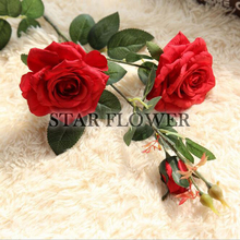 2017 New Product SF2017175 Wedding Occasion and Decorative Flowers&Wreaths Type 3 heads artificial rose flowers wedding bouquet