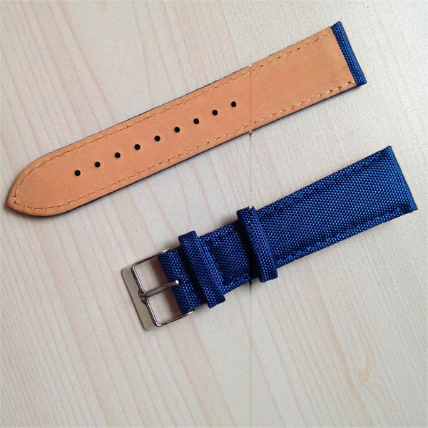 2 pieces stitching leather canvas watch strap <strong>manufacturer</strong>
