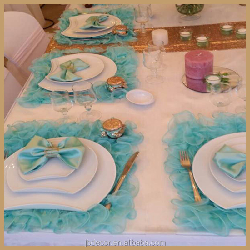 TP001 cheap wholesale organza ruffle placemats for weeding and banquet