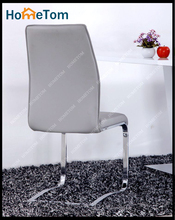 Elegant Gray Embossing Leather Chair Chromed leg Dining Armless Chair