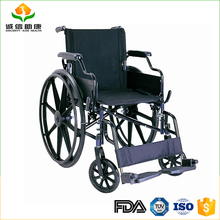 Lightweight high quality fixed armrest and footrest steel wheelchair for elderly people