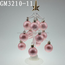 Fashionable glass outdoor led christmas tree with glass balls
