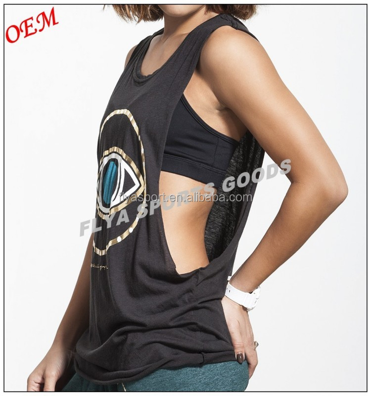Custom 100% Cotton Plain Workout Yoga Wear Women Low Cut Sleeveless Loose Yoga Tank Top