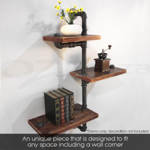 DIY Industrial Vintage Waterproof Iron Wood Wall Shelf
