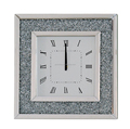 Living room square crystal border silver /black /smoked grey wall mirror clock decorative