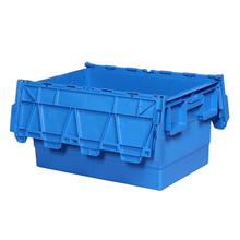 600x400x355mm PP plastic storage logistic container tote box with hinged lids