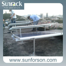 Flat roof , solar pole mounting