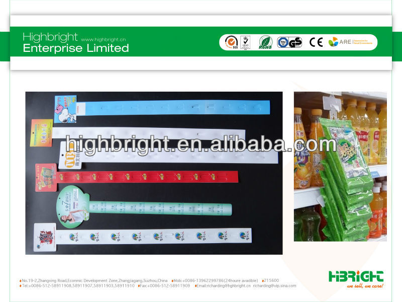 customized supermarket shelving hanging display strip