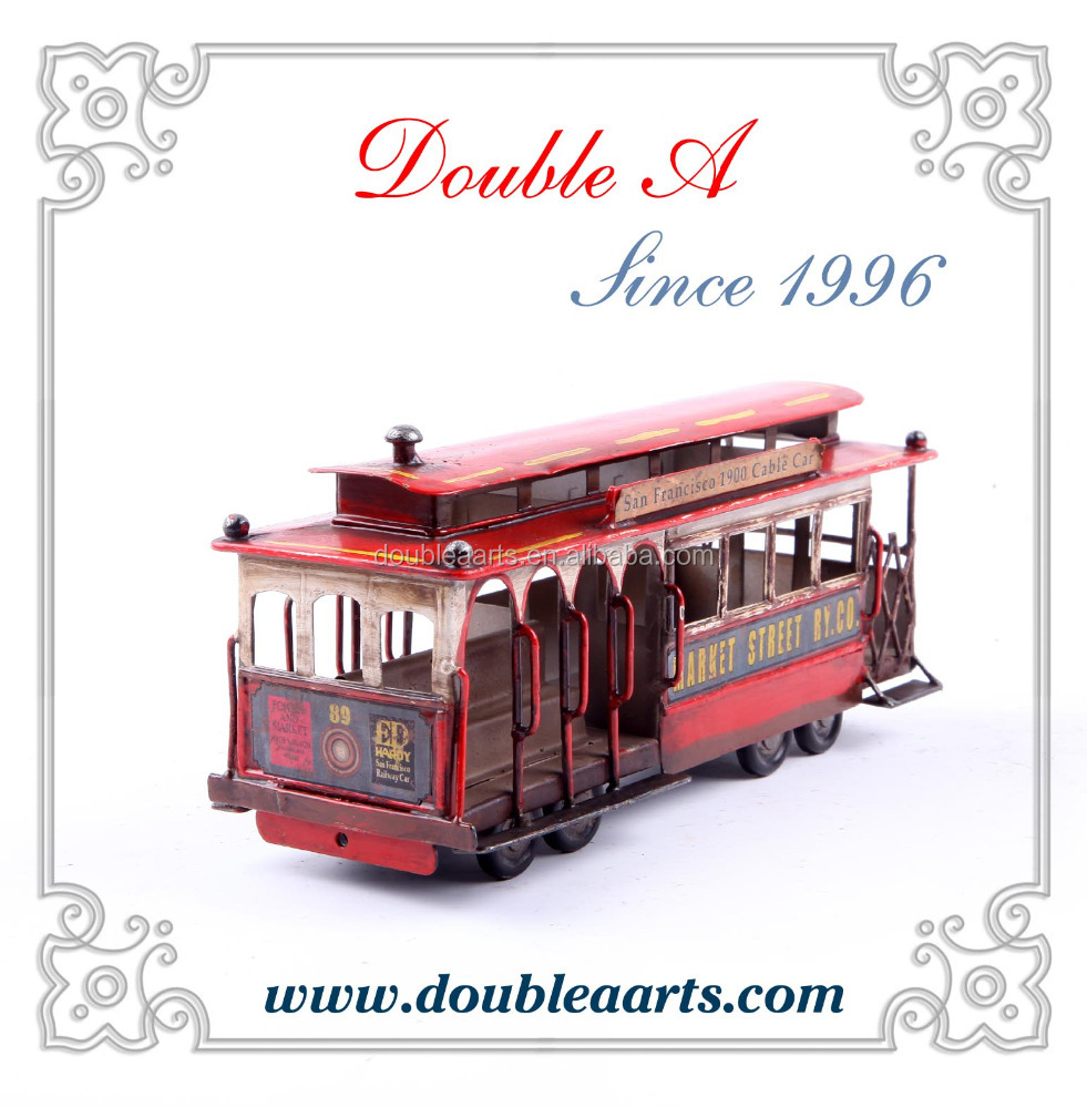 Vintage home decor retro metal car model classical london bus model vintage style iron crafts collection
