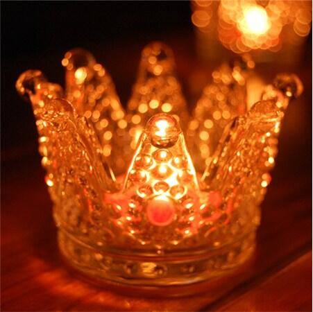 Wedding or party decor superior quality handmade artifical crystal glass crown candle holder