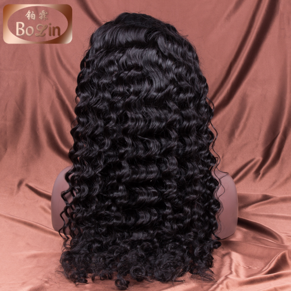 Curly Wave Natural Color For Black Woman Glueless Virgin brazilian Human Hair Full Lace Wig