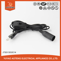 European VDE approved salt lamp power cord with E14 lamp holder with 303 switch.VDE Transparent power cord