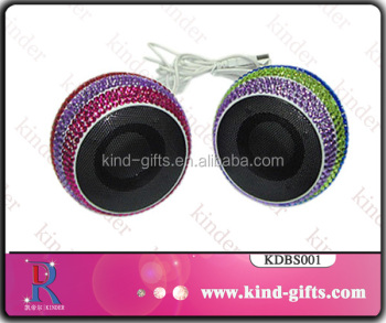 Bling bling rhinestone studded mini portable creative subwoofer speaker