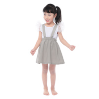 The Latest Simple Design Girls Summer Dress Clothing Baby Girls Pure Color Linen Suspender Skirt