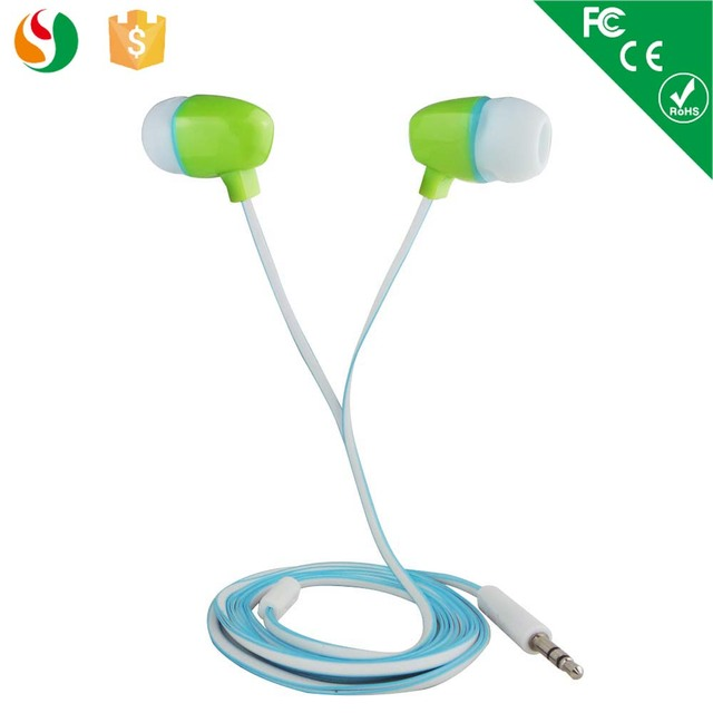 Cute cheap stylish 3.5 mm jack stereo earphone with flat cable