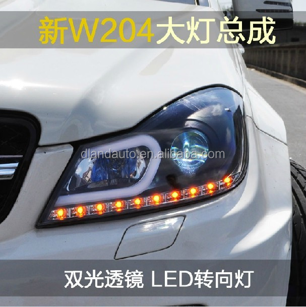 DLAND W204 C180 C200 C260 ANGEL EYE LED HEADLIGHT V2, WITH LED DAYLIGHT AND BI-XENON PROJECTOR, FOR BENZ