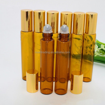 amber 10ml glass perfume bottle with roller ball, empty 1/3 oz roll-on perfume bottle