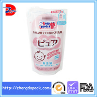 Stand up plastic packaging bag for liquid wash detergent